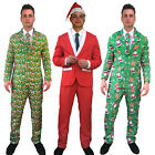 Mens Christmas Suit Carrot sprout Santa Hat Funny Patterned Fancy Dress Costume