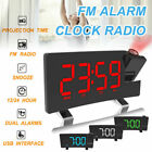 Home 5'' Digital Clock FM Radio Alarm Clock Mirror Surface Projection USB Charg