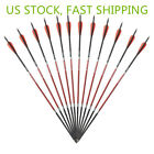 """30"""" Carbon Arrows 7.6 mm Spine 500 F Recurve/Compound Bow Hunting 12/24/48pcs US"""