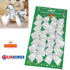 Silver+Christmas+Tree+Bow+Decoration+Baubles+XMAS+Party+Garden+Bows+Ornament+UIK