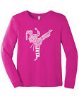Girls Karate Typography Youth Long Sleeve T-Shirt Martial Arts Gift Idea