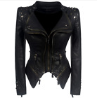 6XL Women Sexy Gothic Punk Leather Jacket Rivets Zip Motorcycle Biker Coat Yoooc