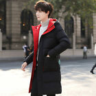 Men Mid Length Hooded Padded Cotton Jacket Outwear Quilted Overcoat Warm Winter