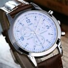 Colorful Casual Leather Analog Quartz Wrist Watch Men's Business Hour Watches RK image