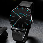 GENEVA Mens Stainless Steel Wrist Watch Military Fashion Mesh Band Watches Gift image