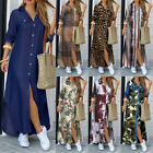 Womens Casual Collared Long Sleeve Shirt Dress Floral Buttons Loose Midi Dresses