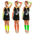 Ladies Neon 80s Dress 1980s Festival Fancy Dress Costume Neon Complete Outfit