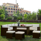 Outdoor 5 Piece RATTAN GARDEN FURNITURE SET 8 SEATER DINING CHAIRS TABLE