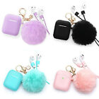 Cute Airpods Silicone Case Cover w/Fur Ball Keychain for Apple Airpods 1/2