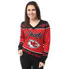 Kansas City Chiefs Big Logo Women's V-Neck Ugly Sweater by Forever Collectibles $69.99 USD on eBay