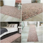 Millennial Pink & Grey Mottled Deep Shaggy Rugs Non Shed Thick Cosy Bedroom Rug
