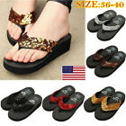 Women Summer Sequin Thong Flip Sandals Platform Beachwear Slippers O Wedge Flops