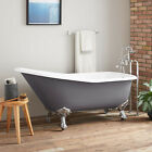 "66"" Goodwin Cast Iron Dark Gray Clawfoot Bathtub with Imperial Feet"