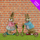 Boy Girl Bunny On Scooter - Easter Bunny -  Rabbit Decorations Celebration Set