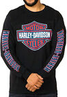 Harley-Davidson Mens Red White & Blue B&S Logo Black Long Sleeve Biker T-Shirt $19.99 USD on eBay