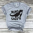 Women Wino Saur Dinosaur Wine Blouse Top Ladies Funny Tee Casual Letter T-Shirt