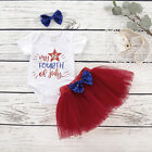 My 1st 4th of July Baby Girl Tops Romper+Tulle Dress Skirt Headband Outfit 0-18M