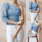 Womens Puff Sleeve One Shoulder Cocktail Party Blouse Slim Fit Bardot Shirt Tops