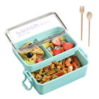 2 Layers Microwave Lunch Box Portable Bento Food Container Storage W/Spoon Fork