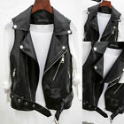 Womens Faux Leather Waistcoat Gilet Biker Sleeveless Jacket Ladies Vintage Coats