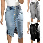 Womens Denim Jeans Skirt High Waist Pencil Bodycon Split Midi Dress Plus Sizes