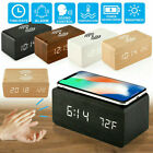 Thermometer Wood Wireless Charger Alarm Clock Sound Control Digital LED Display