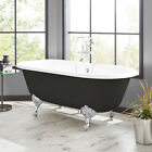 "66"" Sanford Cast Iron Clawfoot Black Bathtub with Imperial Feet"