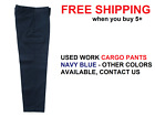 Used Good Condition Uniform Work Cargo Pants Pockets Mechanic Cintas Navy Blue