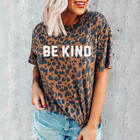 Women Be Kind Leopard Print Aesthetic Hipster Tee Summer Casual Top T-Shirt