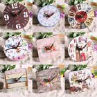 Vintage Rustic Wooden Wall Clocks Antique Shabby Chic Retro Home Kitchen Decor