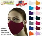 Face Mask Triple Layers 100% Cotton Washable Reusable With Pocket  Unisex