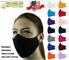Face Mask ADULT and KIDS Triple Layers 100% Cotton Washable Reusable With Pocket
