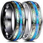 8MM Tungsten Carbide Ring Blue Fire Opal&Abalone Shell Inlay Men Wedding Jewelry image