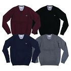 Lacoste Mens V-neck Sweater Long Sleeve Pullover Jumper Crocodile Logo New Nwt