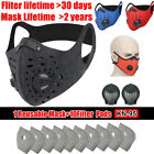 Reusable Mouth Face Mask Shield Outdoor Replaceable Filter Pads W/valves Protect