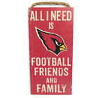 """NFL Arizona Cardinals """"All I Need is Football Friends and Family"""" Wood Sign $22.99 USD on eBay"""