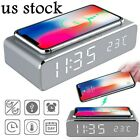 Digital LED Alarm Clock Thermometer Wireless Charger for iPhone Android Silver