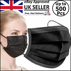 BLACK FACE MASKS DISPOSABLE AARTON 3 PLY MASK MEDICAL SURGICAL (3 PLY NOT 2 PLY) <br/> FREE P&P✅FULLY SEALED✅UK STOCK✅