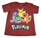 Pokemon Youth Boys Pikachu Starter Group Red Heather Tee Shirt New 5