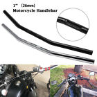 "1"" 26mm Chrome Black Motorcycle Drag Handlebar For Chopper Harley Bobber Triumph"