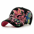 AKIZON Baseball  For Women With Butterflies And Flowers Embroidery Adjustable
