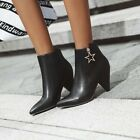 Womens New Fashion Pointy Toe Metal Decor Pumps Mid Heels Ankle Boots Plus Size