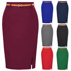 women Stylish Plain Stretchy Front Split Hips-wrapped Bodycon Pencil Skirt