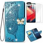 Bling Butterfly Wallet Phone Case & 2 Glass Screen Protector Film & 2 Straps G