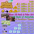 Animal Crossing:New Horizons BELLS AND NOOK MILES TICKETS!!! INSTANT DELIVERY~