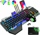 Wireless Gaming Keyboard and Mouse Rainbow LED Backlit Rechargeable Set Mice Pad