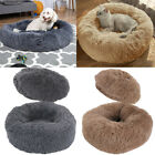 Long Soft Plush Comfy Calming Dog Bed Self-Warming Fluffy Anti Anxiety Donut Bed