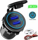 5-12V Car Charger Socket QC 3.0 Dual USB Port Volt Display Phone Fast Charging