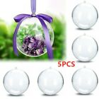 5X Clear Plastic Ball Baubles Sphere Fillable Christmas Tree Ornament Xmas Decor
