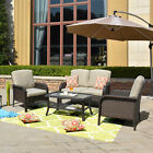 4 Pcs Garden Patio Furniture Sets Table Rattan Wicker Chair Set Cushions Couch